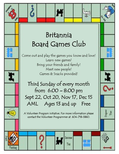 britannia community services centre board games